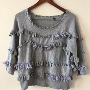 Anthropologie ruffle quarter sleeve top sweater